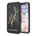 Karl Lagerfeld Karl Lagerfeld backcover hoesje Double Layer Glitter Apple iPhone X-Xs Zwart - Karl Signature - TPU