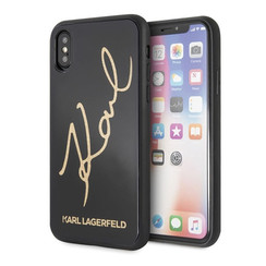 Karl Lagerfeld backcover hoesje Double Layer Glitter Apple iPhone X-Xs Zwart - Karl Signature - TPU