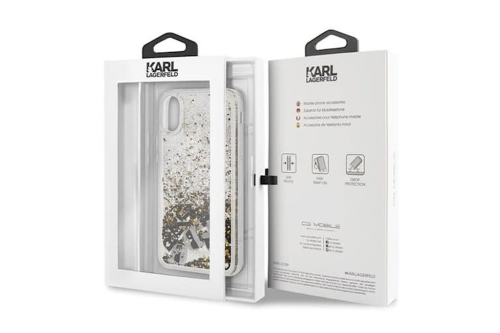Karl Lagerfeld Karl Lagerfeld backcover hoesje Glitter Apple iPhone X-Xs Zwart - Floating Charms - TPU