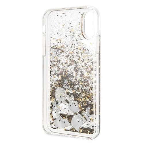 Karl Lagerfeld Karl Lagerfeld backcover hoesje Glitter Apple iPhone X-Xs Zwart - Floating Charms - TPU