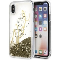 Karl Lagerfeld back cover coque Apple iPhone X-Xs Karl Signature Or - Liquid Glitter