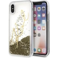 Karl Lagerfeld backcover hoesje Karl Signature Apple iPhone X-Xs Goud - Liquid Glitter - TPU