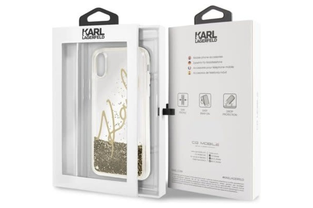 Karl Lagerfeld Karl Lagerfeld back cover coque Apple iPhone X-Xs Karl Signature Or - Liquid Glitter