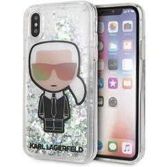 Karl Lagerfeld backcover hoesje Liquid Glitter Apple iPhone X-Xs Transparant - Karl Iconic - TPU