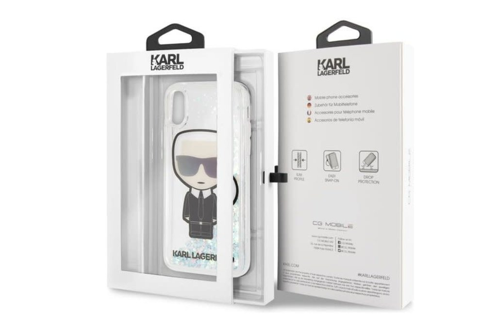 Karl Lagerfeld Karl Lagerfeld backcover hoesje Liquid Glitter Apple iPhone X-Xs Transparant - Karl Iconic - TPU