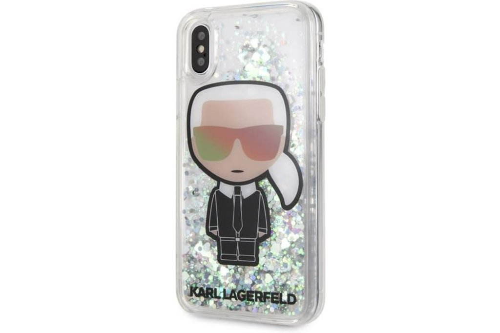 Karl Lagerfeld Karl Lagerfeld back cover coque Apple iPhone X-Xs Liquid Glitter Transparent - Karl Iconic