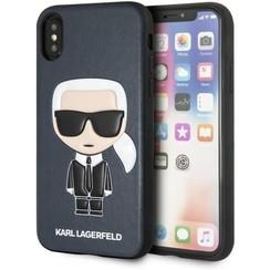 Karl Lagerfeld backcover hoesje Embossed Apple iPhone X-Xs Blauw - Chic - Kunstleer; TPU