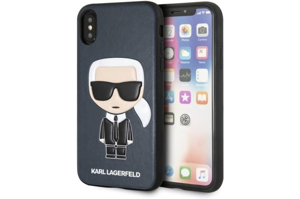 Karl Lagerfeld Karl Lagerfeld back cover coque Apple iPhone X-Xs Embossed Bleu - Chic