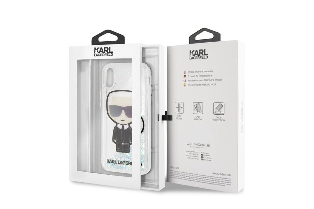 Karl Lagerfeld Karl Lagerfeld back cover coque Apple iPhone X-Xs Full Body Argent - Karl Iconic