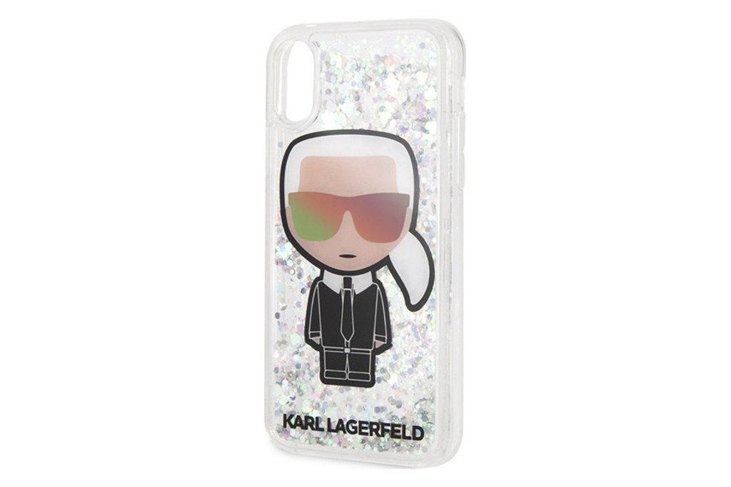 Karl Lagerfeld Karl Lagerfeld backcover hoesje Full Body Apple iPhone X-Xs Zilver - Karl Iconic - TPU