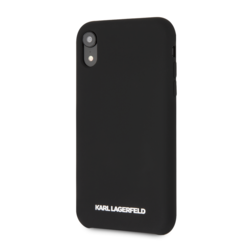 Karl Lagerfeld back cover coque Apple iPhone XR Soft Touch Noir - Silver Logo