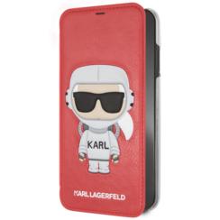 Karl Lagerfeld booktype hoesje Karl Space Apple iPhone X-Xs Rood - Cosmonaut - Kunstleer; TPU