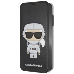 Karl Lagerfeld book type housse Apple iPhone X-Xs Karl Space Noir - Cosmonaut