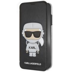 Karl Lagerfeld booktype hoesje Karl Space Apple iPhone X-Xs Zwart - Cosmonaut - Kunstleer; TPU