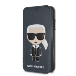 Karl Lagerfeld book type case Apple iPhone X-Xs Full Body Blue - Karl Iconic