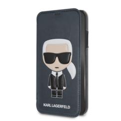 Karl Lagerfeld booktype hoesje Full Body Apple iPhone X-Xs Blauw - Karl Iconic - Kunstleer; TPU