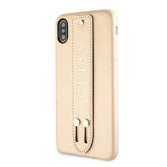 Guess backcover hoesje Strap Apple iPhone X-Xs Beige - Iridescent - Kunstleer; TPU