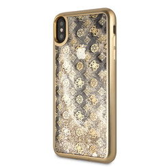 Guess backcover hoesje Peony Apple iPhone X-Xs Goud - Liquid Glitter - TPU