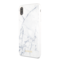 Guess backcover hoesje Marble Collection Apple iPhone X-Xs Wit - Hard Case - TPU