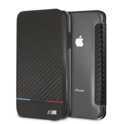 BMW Book-Case hul Apple iPhone XS Max Smooth Leather Tricolor -Tricolor Stripe - Kunstleer; TPU