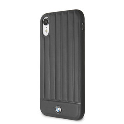 BMW Back-Cover hul Apple iPhone X-Xs Real Leather Rot -Hot Stamped Lines - Echt leer