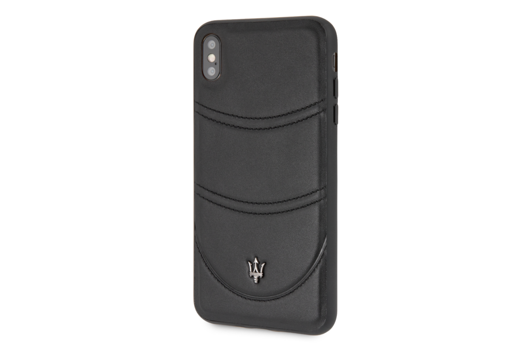 Maserati Maserati backcover hoesje Granslusso Apple iPhone X-Xs Zwart - Origins Genuine Leather - Echt leer