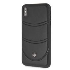 Maserati backcover hoesje Granslusso Apple iPhone X-Xs Zwart - Origins Genuine Leather - Echt leer