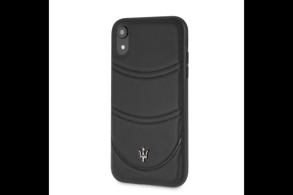 Maserati Maserati backcover hoesje Granslusso Apple iPhone XS Max Zwart - Hard Case - Echt leer