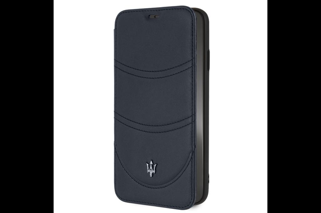 Maserati Maserati booktype hoesje Granslusso Apple iPhone XS Max Navy - Book Case - Echt leer