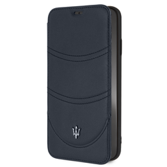 Maserati Book-Case hul Apple iPhone XS Max Granslusso Navy -Book Case - Echt leer