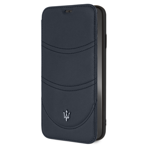 Maserati Maserati booktype hoesje Granslusso Apple iPhone XS Max Navy - Book Case - Echt leer
