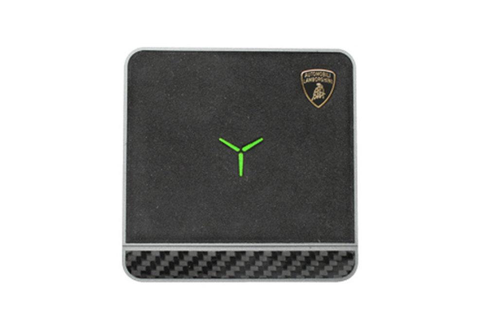 Lamborghini Lamborghini original black 10W wireless charger pad with Genuine Leather