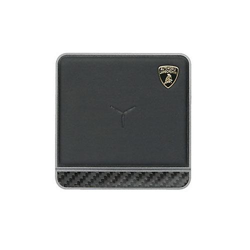 Lamborghini Lamborghini original noir 10W Chargeur sans fil pad original - Cuir véritable