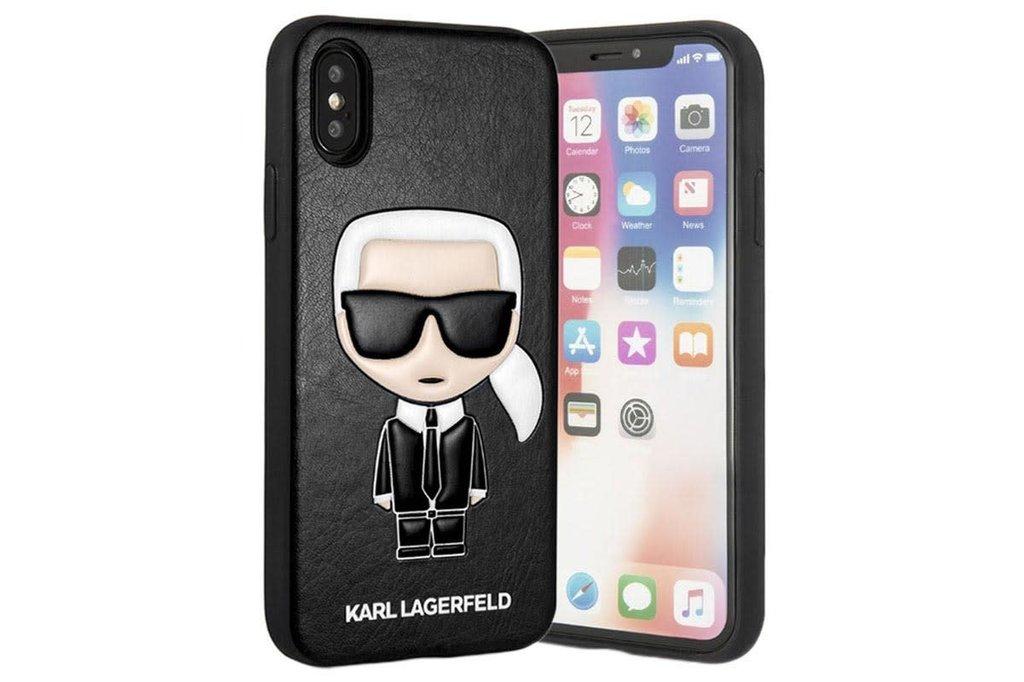 Karl Lagerfeld Karl Lagerfeld backcover hoesje Embossed Apple iPhone X-Xs Zwart - Chic - Kunstleer; TPU