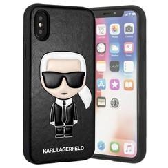Karl Lagerfeld backcover hoesje Embossed Apple iPhone X-Xs Zwart - Chic - Kunstleer; TPU