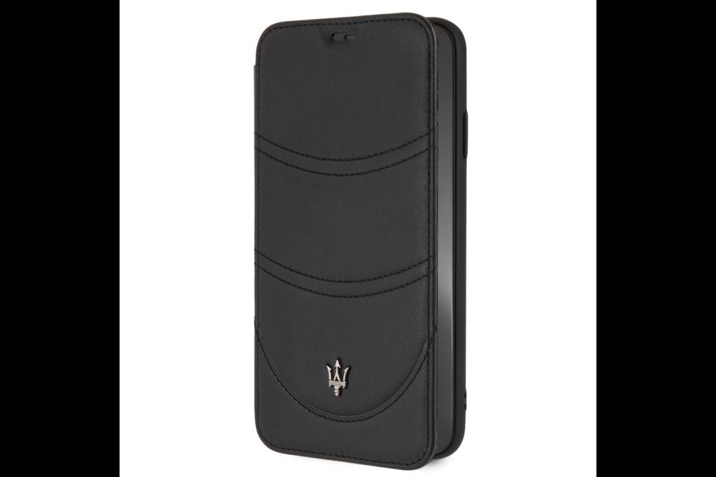 Maserati Maserati booktype hoesje Granslusso Apple iPhone XS Max Zwart - Book Case - Echt leer