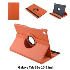 Samsung Galaxy Tab S5e 10.5 inch Oranje Book Case Tablethoes Draaibaar - 2 kijkstanden - Kunstleer
