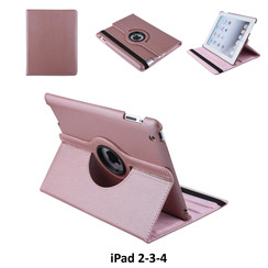 Apple iPad 2-3-4 Rose Gold Book Case Tablethoes Draaibaar - 2 kijkstanden - Kunstleer