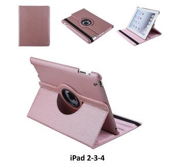 Apple iPad 2-3-4 Rose Gold Book Case Tablethoes Draaibaar - 2 kijkstanden - Kunstleer