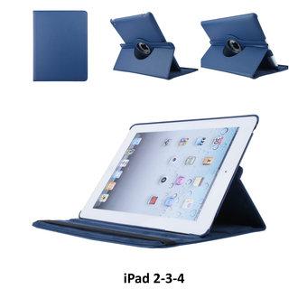 Apple iPad 2-3-4 Blauw Book Case Tablethoes Draaibaar - 2 kijkstanden - Kunstleer