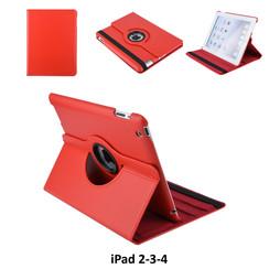 Apple iPad 2-3-4 Rood Book Case Tablethoes Draaibaar - 2 kijkstanden - Kunstleer