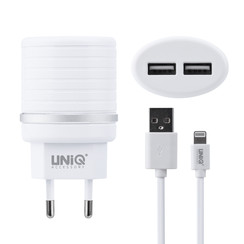 UNIQ Accessory Dual Port 2.4A travel charger - Apple Lightning White (CE)