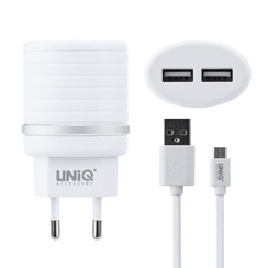UNIQ Accessory Dual Port 2.4A travel charger - USB Type-C Blanc (CE)