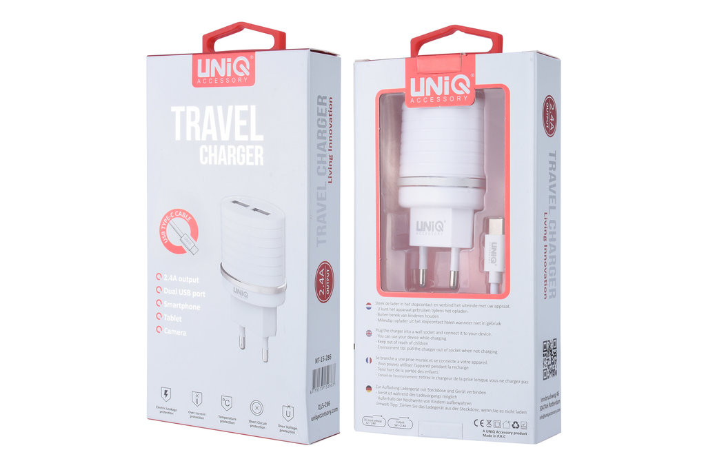 UNIQ Accessory UNIQ Accessory Dual Port 2.4A travel charger - USB Type-C Wit (CE)
