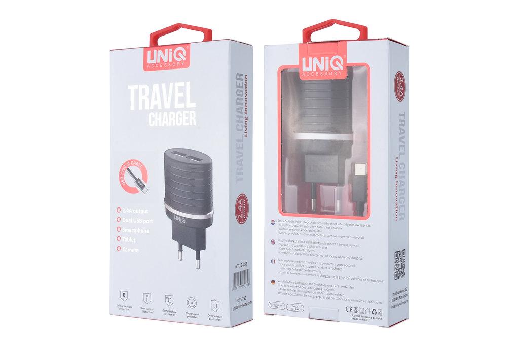 UNIQ Accessory UNIQ Accessory Dual Port 2.4A travel charger - USB Type-C Black (CE)