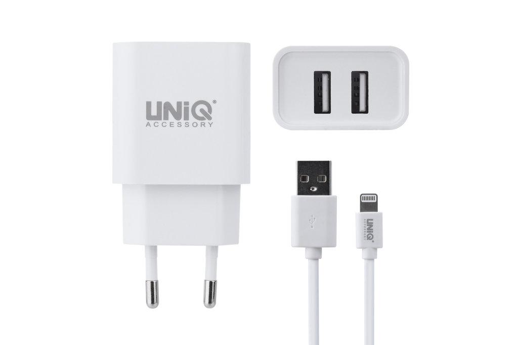 UNIQ Accessory UNIQ Accessory Dual Port 2.4A travel charger - Apple Lightning Wit (CE)