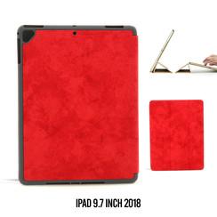 Apple iPad 9.7 inch 2018 Rood Book Case Tablethoes Smart Case - Marmer - Kunstleer