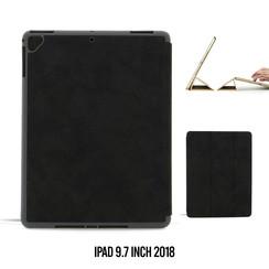 Apple iPad 9.7 inch 2018 Zwart Book Case Tablethoes Smart Case - Marmer - Kunstleer
