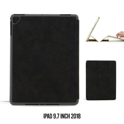Andere merken Apple iPad 9.7 inch 2018 Zwart Book Case Tablethoes Smart Case - Marmer - Kunstleer