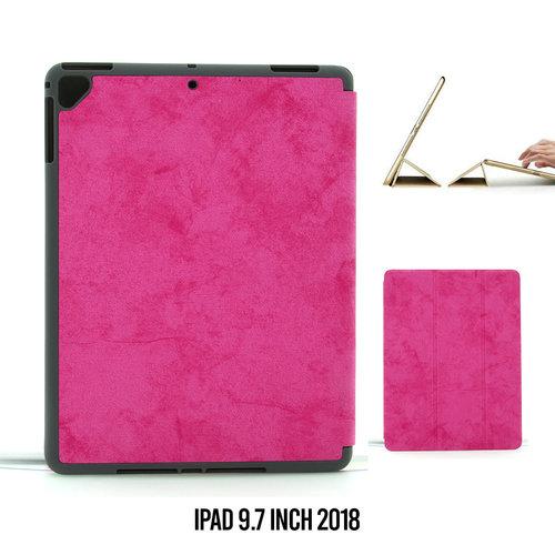 Andere merken Apple iPad 9.7 inch 2018 Hot Pink Book Case Tablethoes Smart Case - Marmer - Kunstleer